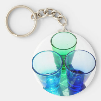3 Coloured Cocktail Shot Glasses - Style 4 Key Chain