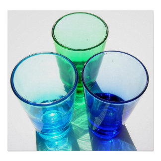 3 Coloured Cocktail Shot Glasses - Style 4 Poster