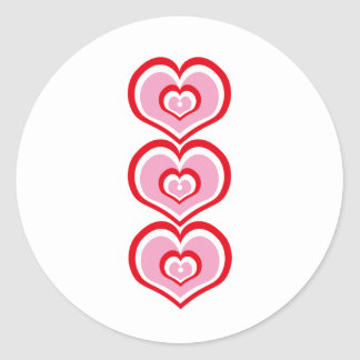3 connected hearts classic round sticker