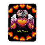 3 corazones con las alas del ángel y la muestra de imanes rectangulares