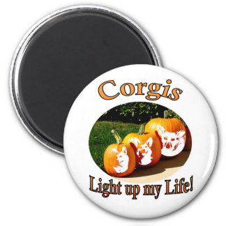 3 Corgis Light up my Life Pumpkins 2 Inch Round Magnet
