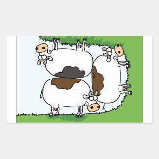3 Cows grazing Rectangular Sticker