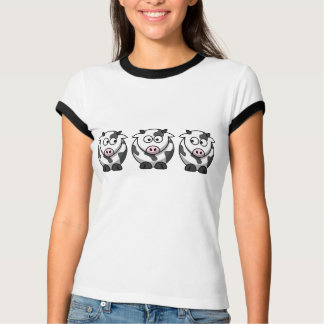 3 Cows Lady Ringer T-Shirt