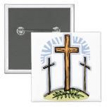 3 crosses 2 inch square button