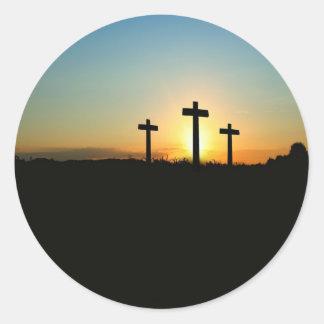 3 Crosses Classic Round Sticker