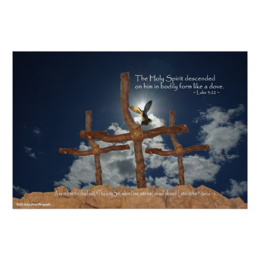 3 Crosses Descent of Holy Spirit Poster