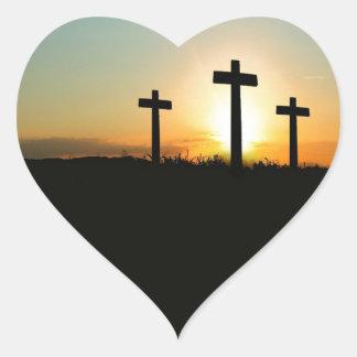 3 Crosses Heart Sticker