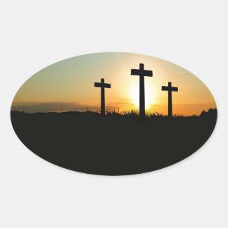 3 Crosses Oval Sticker