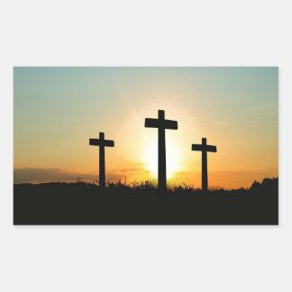 3 Crosses Rectangular Sticker