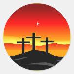 3 Crosses Sunset Classic Round Sticker