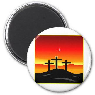 3 Crosses Sunset Magnet