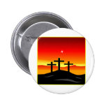 3 Crosses Sunset Pinback Button