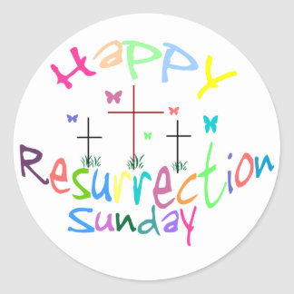 3 cruces de los pegatinas de la resurrección pegatina redonda