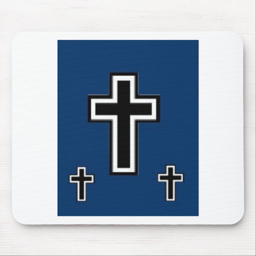 3 cruces en azul alfombrilla de ratón