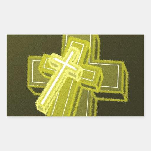3 cruces rectangular pegatinas