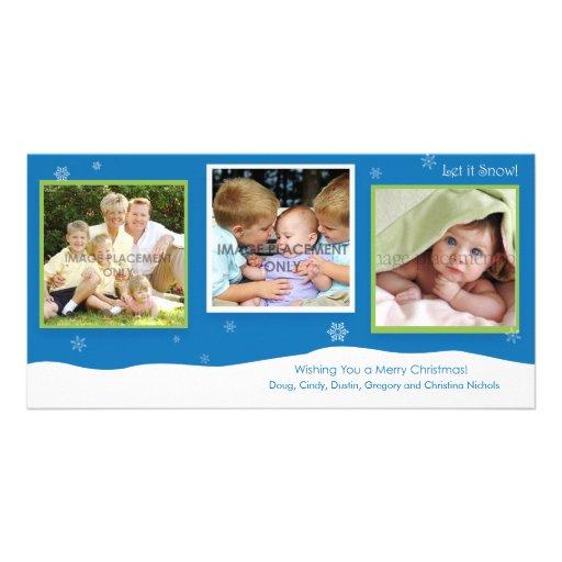3 cuadrado déjelo nevar tarjeta de la foto tarjetas personales con fotos