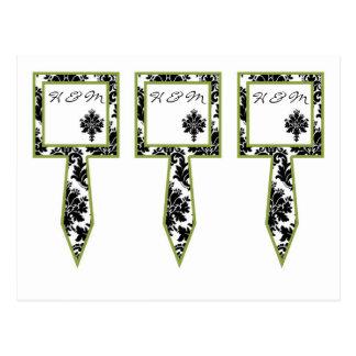 3 Cup Cake Picks Black Green Damask Lace Print Postcard