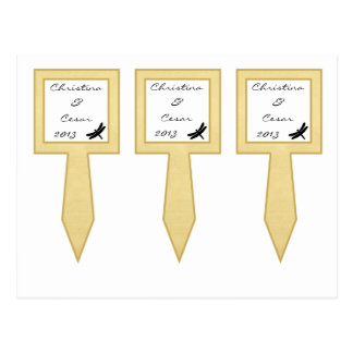 3 Cup Cake Picks Cattail/Dragonfly Silhouette flor Postcard