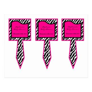 3 Cup Cake Picks Hot Pink Zebra Print Postcard