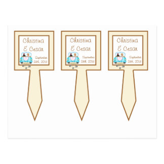 3 Cup Cake Picks Just got Married Couple Postcard