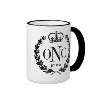 3 Custom Initials Monogrammed Logo Ringer Coffee Mug