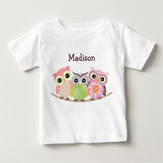3 Cute and Colorful Owls Baby T Shirts