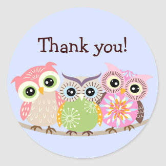 3 Cute and Colorful Owls Thank You Stickers