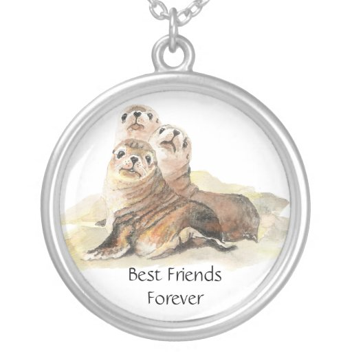 3 Cute Seals, Best Friends Forever, BFF, Round Pendant Necklace
