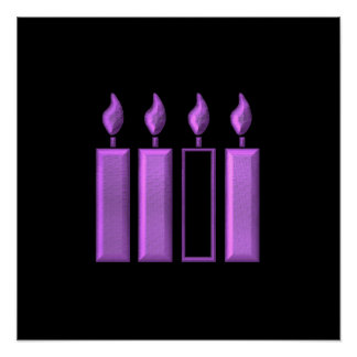 """3-D"" Advent Wreath Candles Poster"