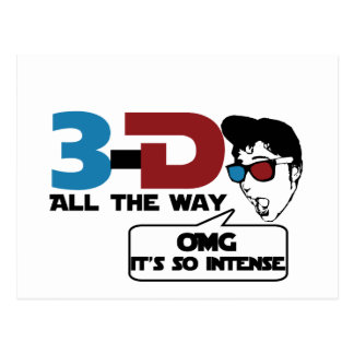 3-d all the way retro glasses postcard