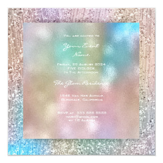 3-D Blue Pink Ombre Tiffany Pastel Crystals Green Card