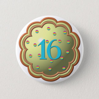 """3-D"" Cupcake w/sprinkles and the # 16 Button"
