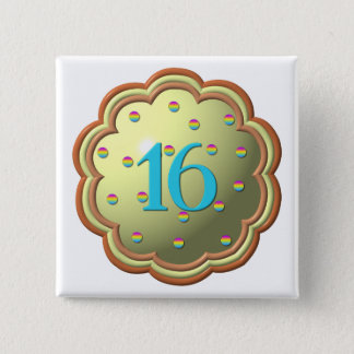 """3-D"" Cupcake w/sprinkles and the # 16 Pinback Button"