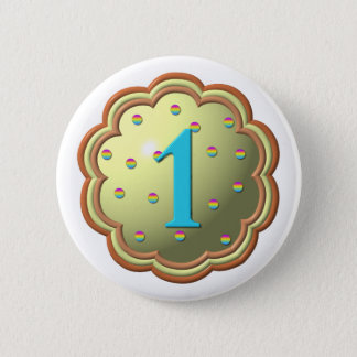 """3-D"" Cupcake w/sprinkles and the # 1 Pinback Button"