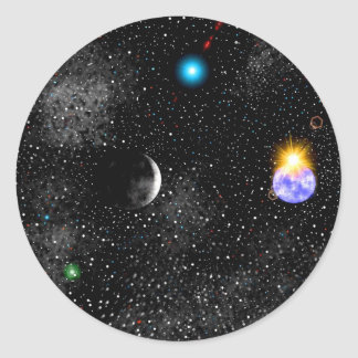 3-D Earth And Outerspace View Sticker