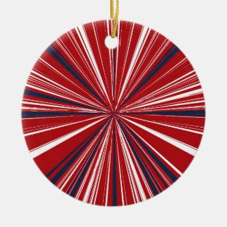 3-D explosion in Patriotic Colors Ceramic Ornament