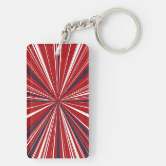 3-D explosion in Patriotic Colors Keychain