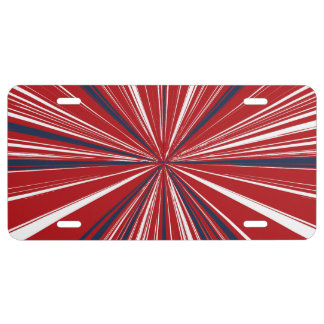 3-D explosion in Patriotic Colors License Plate