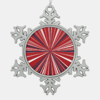 3-D explosion in Patriotic Colors Snowflake Pewter Christmas Ornament