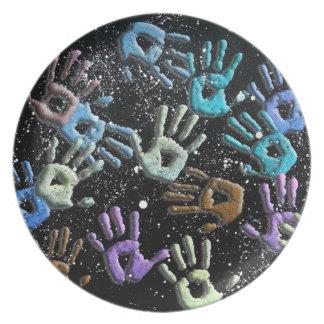 3-D Galaxy Hands plate