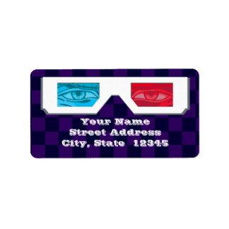 3-D Glasses Address Labels