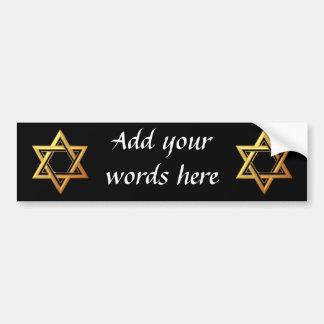 """""""3-D"""" Golden Star of David Bumper Stickers"""