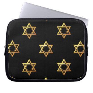 """""""3-D"""" Golden Star of David Computer Sleeve"""