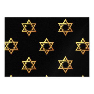 """3-D"" Golden Star of David 3.5"" X 5"" Invitation Card"