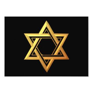 """3-D"" Golden Star of David 5"" X 7"" Invitation Card"