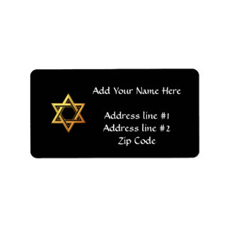 """3-D"" Golden Star of David Label"