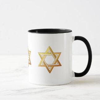 """3-D"" Golden Star of David Mug"