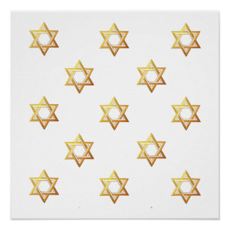 """3-D"" Golden Star of David Print"