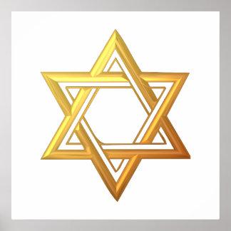 """3-D"" Golden Star of David Posters"
