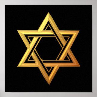 """3-D"" Golden Star of David Poster"